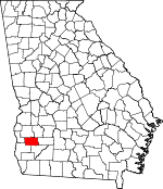 Map of Georgia showing Calhoun County