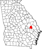 Map of Georgia showing Candler County