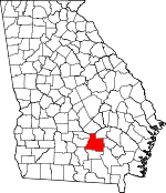 Map of Georgia showing Coffee County
