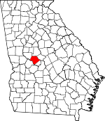 Map of Georgia showing Crawford County