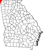 Map of Georgia showing Dade County