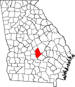 Map of Georgia showing Dodge County