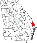 Map of Georgia showing Effingham County