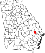 Map of Georgia showing Evans County