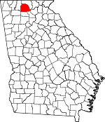 Map of Georgia showing Gilmer County