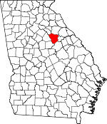 Map of Georgia showing Greene County