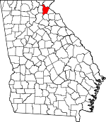 Map of Georgia showing Habersham County