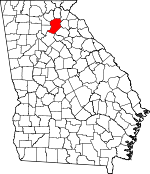 Map of Georgia showing Hall County