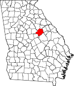 Map of Georgia showing Hancock County