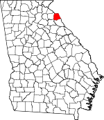 Map of Georgia showing Hart County