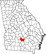 Map of Georgia showing Irwin County