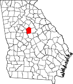 Map of Georgia showing Jasper County