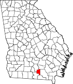 Map of Georgia showing Lanier County
