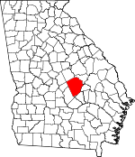 Map of Georgia showing Laurens County