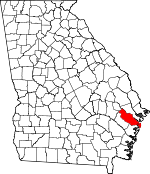 Map of Georgia showing Liberty County