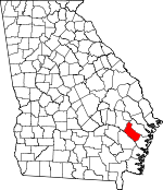 Map of Georgia showing Long County