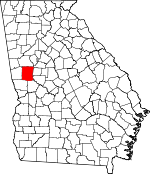 Map of Georgia showing Meriwether County