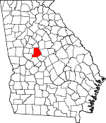 Map of Georgia showing Monroe County