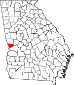 Map of Georgia showing Muscogee County