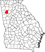 Map of Georgia showing Paulding County