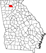 Map of Georgia showing Pickens County
