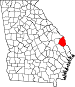Map of Georgia showing Screven County