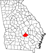 Map of Georgia showing Telfair County