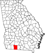 Map of Georgia showing Thomas County