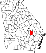 Map of Georgia showing Toombs County