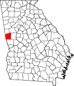 Map of Georgia showing Troup County