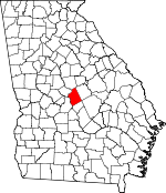 Map of Georgia showing Twiggs County