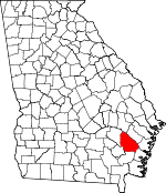 Map of Georgia showing Wayne County
