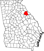 Map of Georgia showing Wilkes County