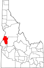 Map of Idaho showing Adams County