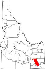 Map of Idaho showing Bannock County