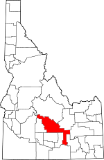 Map of Idaho showing Blaine County