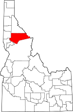 Map of Idaho showing Clearwater County