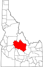 Map of Idaho showing Custer County