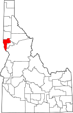 Map of Idaho showing Nez Perce County