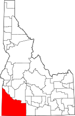 Map of Idaho showing Owyhee County