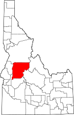 Map of Idaho showing Valley County