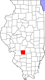 Map of Illinois showing Bond County