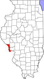 Map of Illinois showing Calhoun County