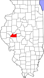 Map of Illinois showing Cass County