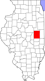 Map of Illinois showing Champaign County