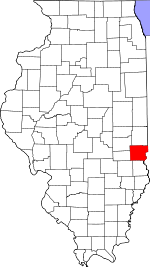 Map of Illinois showing Clark County