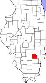 Map of Illinois showing Clay County