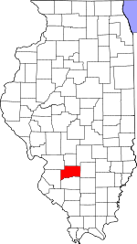 Map of Illinois showing Clinton County