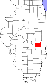 Map of Illinois showing Coles County