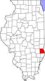 Map of Illinois showing Crawford County